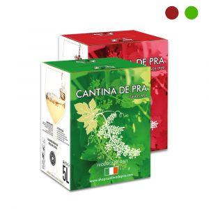 Confezione 2 Bag in Box Manzoni Bianco del Veneto Igt e Raboso del Veneto Igt 5 Litri - Cantina De Pra