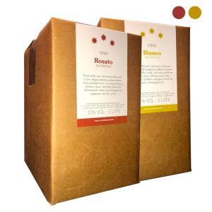Confezione 2 Bag in Box Vino Bianco e Rosato da Tavola - 5 litri - Cerulli Spinozzi