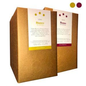 Confezione 2 Bag in Box Vino Bianco e Rosso da Tavola - 5 litri - Cerulli Spinozzi