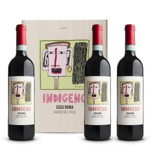 Cassa in legno 3 bottiglie Indigeno Raboso Doc Piave - Casa Roma Peruzzet