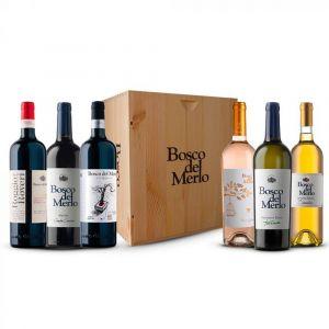 Confezione 6 bottiglie Degustazione Miste Cassa Legno - Bosco del Merlo