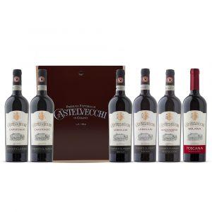 Confezione 6 bottiglie Degustazione Rossi Cassa Legno - Premiata Fattoria di Castelvecchi
